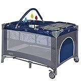 LCP Kids Baby-Reisebett 120x60 klappbar mit Neugeborenen Einlage Wickelauflage in Blau