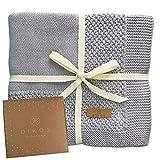 Babydecke Baumwolle aus * 100% * GOTS BIO Baumwolle grau mit Bordüre für Mädchen/Junge...