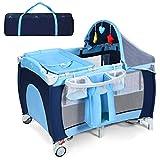 RELAX4LIFE 4 in 1 Babyreisebett, klappbares Kinderreisebett mit Tragetasche & Matratze &...