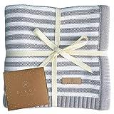 Babydecke aus * 100% * GOTS BIO Baumwolle grau/weiß für Junge Mädchen Strickdecke Baby Decke...