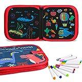 Miavogo Malbuch mit 12 Buntstifte für Kinder, Zeichenbrett abwischbar wiederverwendbar tragbar...