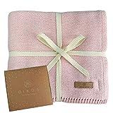 Babydecke Baumwolle aus * 100% * GOTS BIO Baumwolle rosa mit dünner Bordüre für Mädchen...