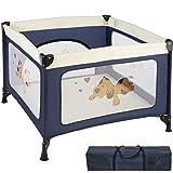 TecTake Kinder Reisebett Laufstall mit Babyeinlage - diverse Farben - (Navy Blau | Nr. 402205)